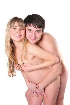 Happy naked future parents over white background Stock Photo