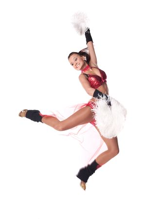 Jumping  cheerleader on white background