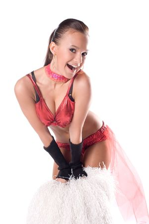 Smiling cheerleader over white background Stock Photo - 7563284