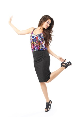 Excited happy and joyful asian woman over white background.