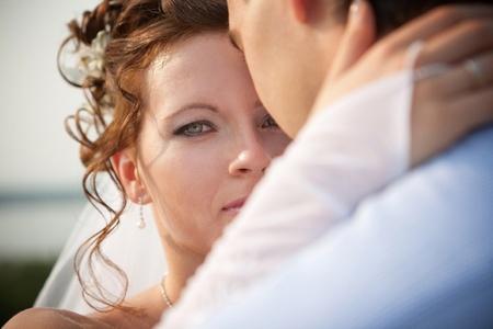 nude bride: Wedding. Attractive bride is looking at camera Stock Photo