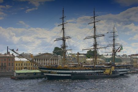 shrouds: The frigate at wharfboat in Saint-Petersburg, Russia Stock Photo