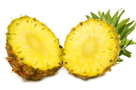 the slit pineapple isolated on white background