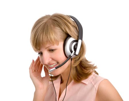 the attractive young blonde woman with headset photo