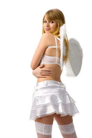 young sexy woman dressed as angel on white background Stock Photo - 2414572