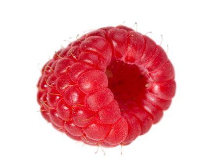 single large raspberry macro isolated on white background