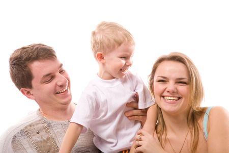 young happiness family isolated on a white background photo