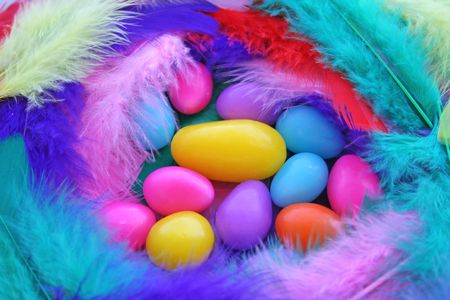 Easter nest make with various colored feather. Stock Photo - 833524