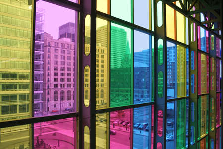 palais: Interior of Palais des congres Montreal. To create a Palais open to the world, the architectural concept of the Palais focuses on the aspects of light and transparency. Stock Photo