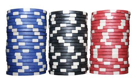 jetons poker: Des piles de jetons de poker (bleu, noir, rouge)