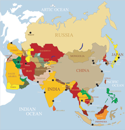 Asia map. Separate and use any country as you wish.