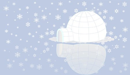 holydays: Igloo on ice with snow flake.