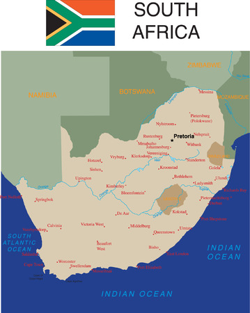 atlantic city: South Africa,flag and major cities.