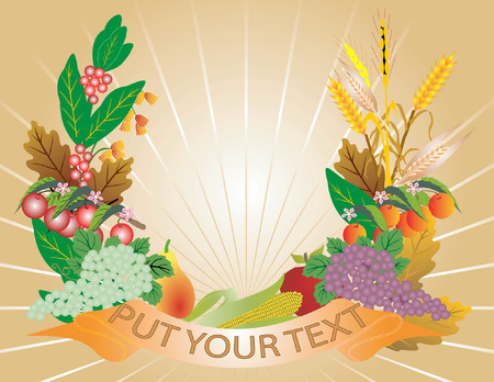 Harvest with ribbon on ray background. Vector