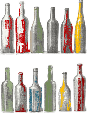collectibles: Bottle isolated on white background. Illustration
