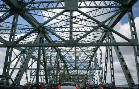 slowdown: Traffic conditions on the Montr�al Champlain Bridge. Stock Photo