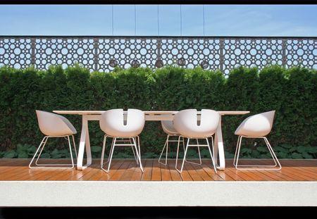 Nice furniture on a modern balcony. Stock Photo