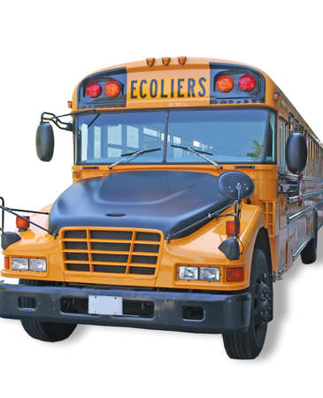 Scholl bus with the word - ecoliers -  write in french. photo
