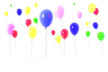 Colorful balloons in the sky. Illustration 3D. Stock Illustration - 2702732