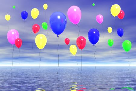 Colorful balloons in the sky. Illustration 3D. Stock Illustration - 2705107