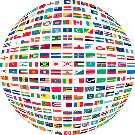 est: Several flags in a circle. Illustration