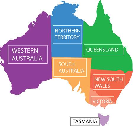 tasmania: Map Australia provinces.