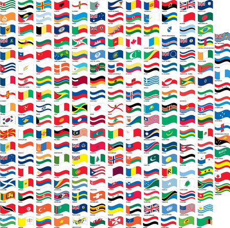 Many flag in wave shape