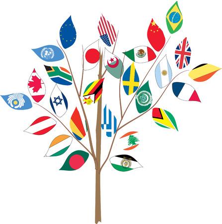 Albero con varie bandiere a succursale