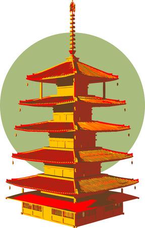 pagoda: Asia estructura.  Vectores