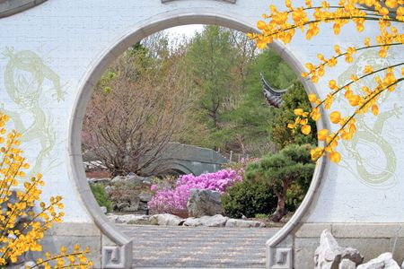 asian house plants: Hole in chinese garden.