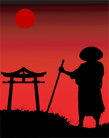 Chinese silhouette in the night. Illustration