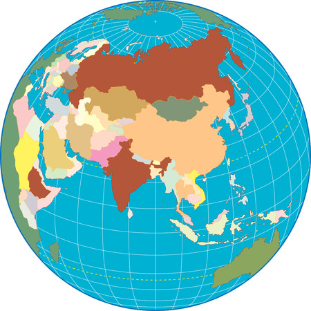 Asia Globe Separate and use any country as you wish. Vector