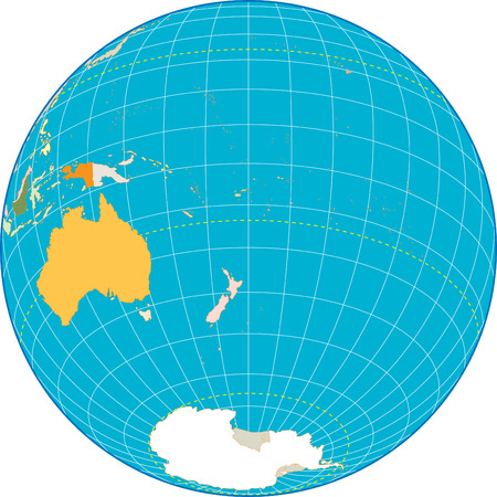 Oceania Globe Separate and use any country as you wish. Vector