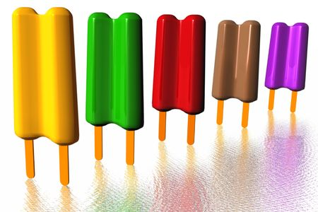 Popsicle on ice. 3D photo