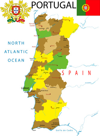Map of portugal. Vector