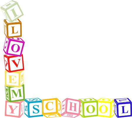 letter blocks: I  my school.