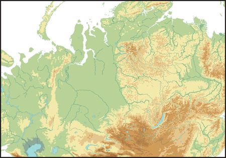 Relief Of North Asia. Vector