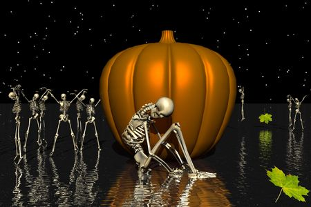deathly: Sad skeleton with a pumpkin. Stock Photo