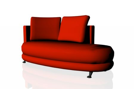 red sofa: A red sofa. Stock Photo