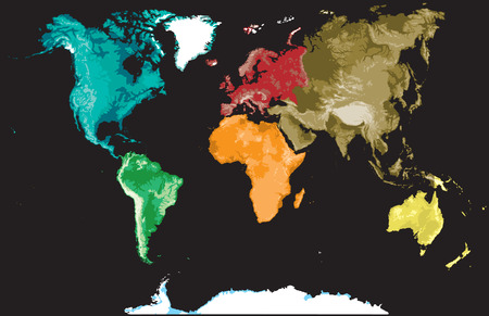 physical geography: Map of the world on a black background.