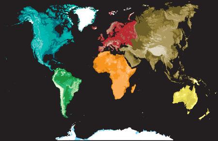 Mappa del mondo su uno sfondo nero.