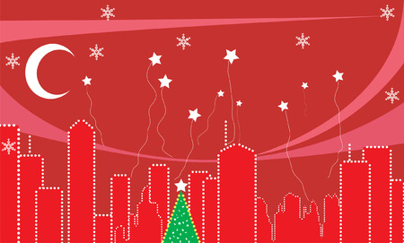 City during the Christmas time. Stock Vector - 3861270