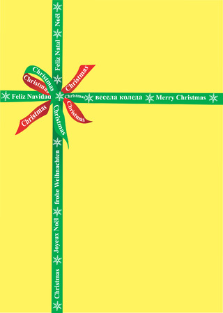 Box and Bow with Christmas in several language on the ribbon. Vector