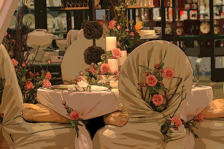 table: Table arrangement for wedding.