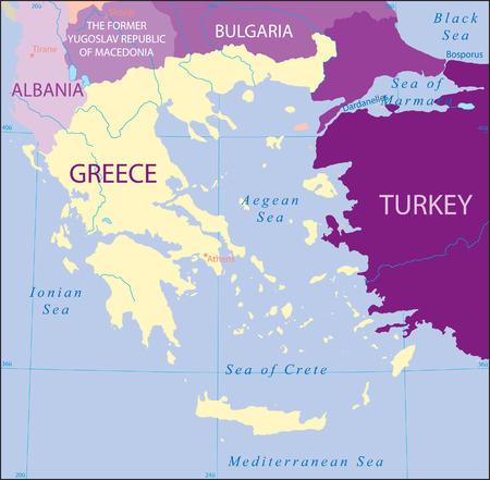 Turchia-Grecia-Albania-Macedonia-Bulgaria Mappa Vettoriali