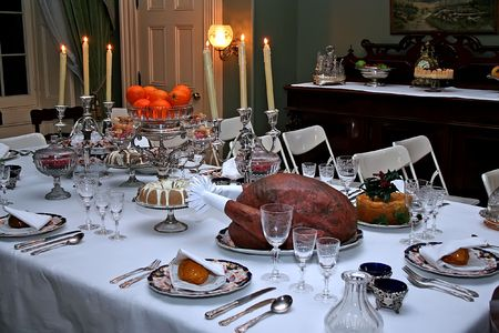 receptions: Historic victorian meal of Christmas. Exhibition illustrating the origins and traditions of Victorian holiday receptions