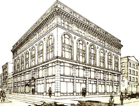 city view: Retro facade in a street.