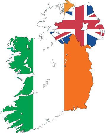 erin: Map of the Ireland isolated on white background.