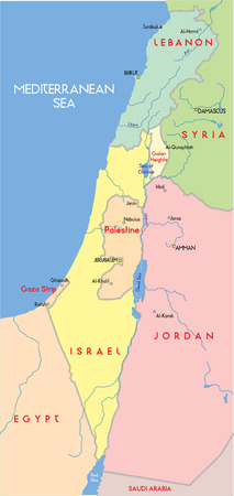 middle east fighting: Israel Map.