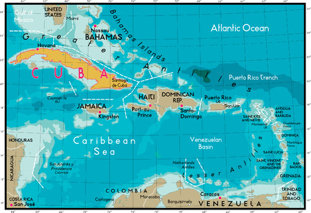 Caribbean sea: Cuba Map and Caribbean Sea